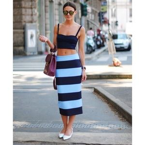 Zara stripe midi skirt